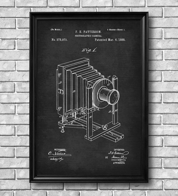 Cool decorating idea vintage patent drawings of cameras, classic - new old blueprint art