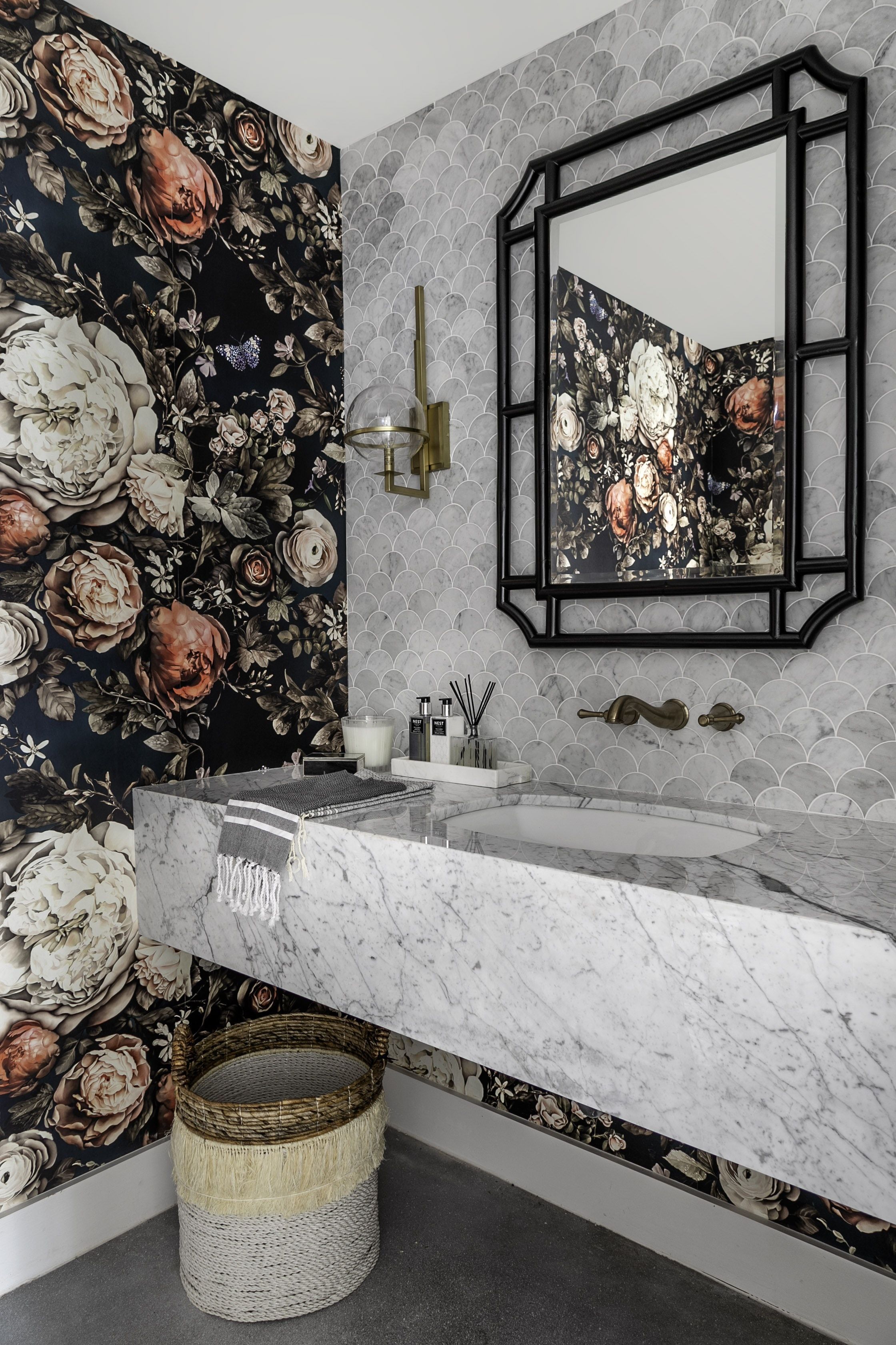 Cwd Studio Home Store Powder Room With Dark Floral Wallpaper