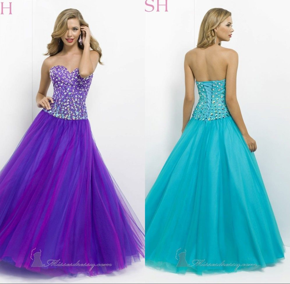 2014 Free Shipping Dresses Sexy A-Line Floor Length Organza Prom ...