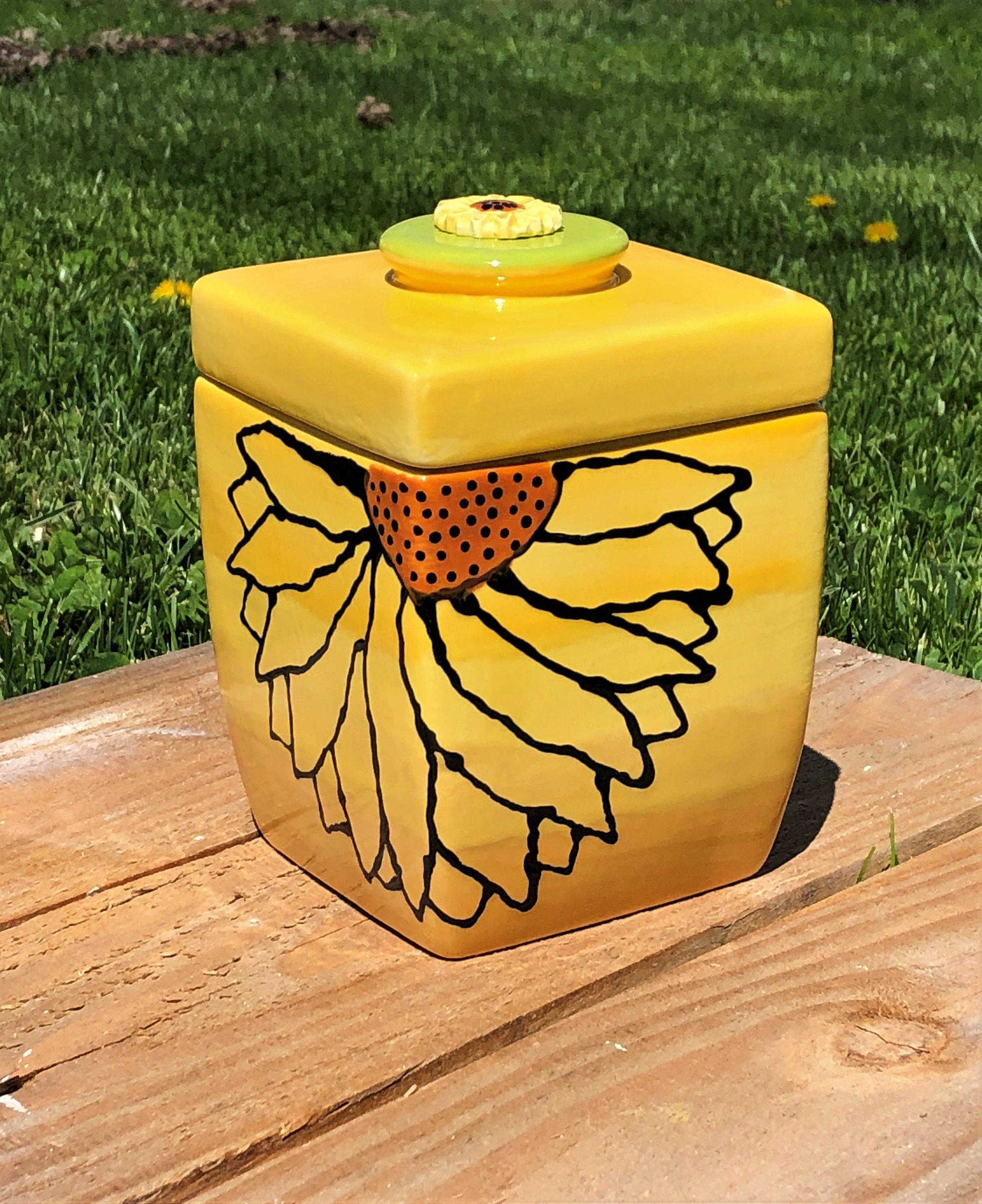 Ceramic Sunflower Canister Yellow Container Hand Painted Ceramics Glazed Ceramic