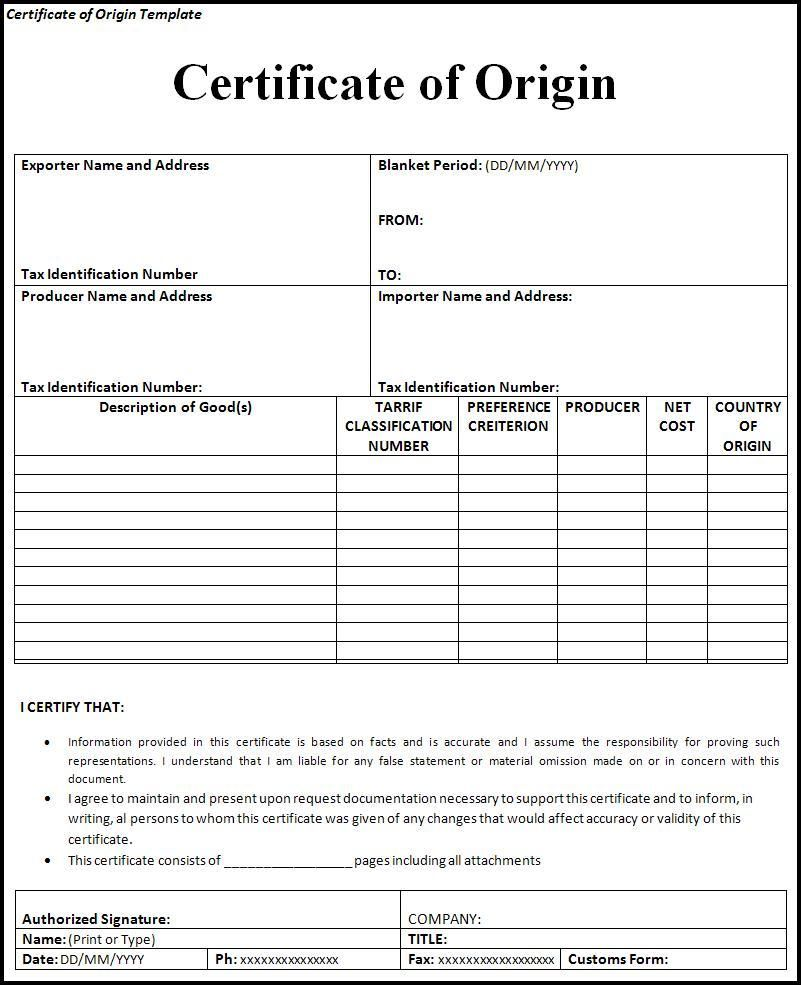 Certificate Of Origin Form Certificate Of Origin Free Printable Certificates Printable Certificates