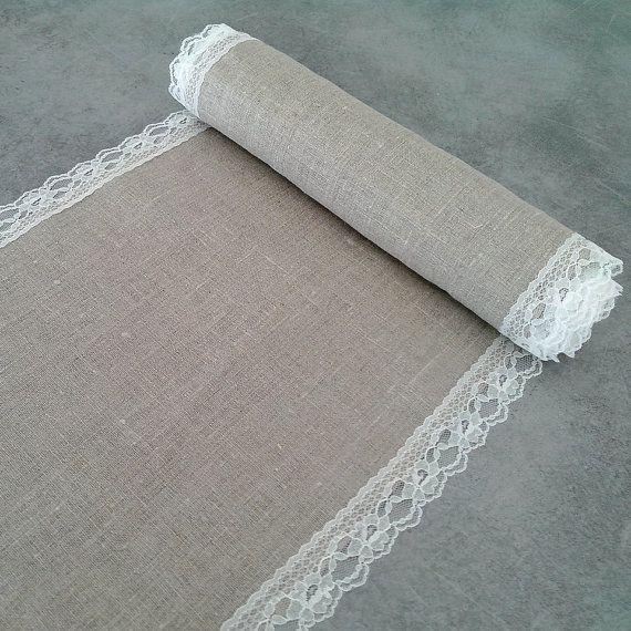 chemin de table lin naturel et dentelle pour par saveyourdeco mariage fred et nath. Black Bedroom Furniture Sets. Home Design Ideas