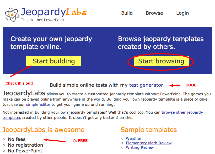 Jeopardylabs is a wonderful free website that allows you to create jeopardylabs allows users to create a customized jeopardy template the games you make can be played online pronofoot35fo Image collections