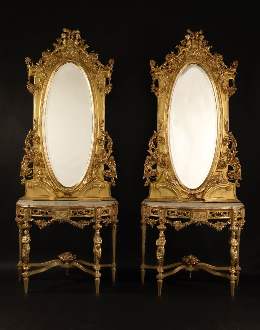 Glass console table with mirror a fine pair of antique carved giltwood console tables and mirrors