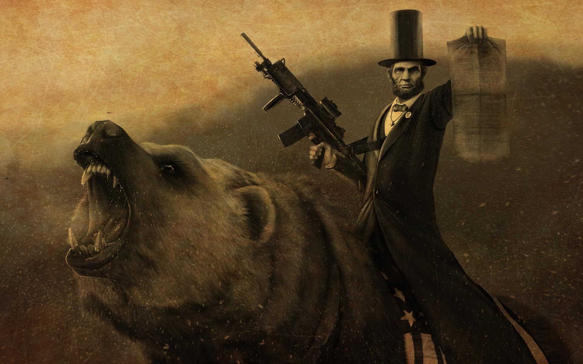 Only Baberaham Lincoln Could Ride A Bearwith A Flag Saddle