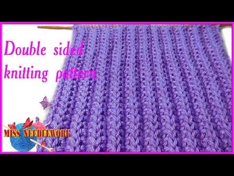 Double Sided Knitting Pattern Youtube Knitting Video Pinterest