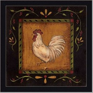 French Country Rooster Ii Primitive Folk Art Print Framed