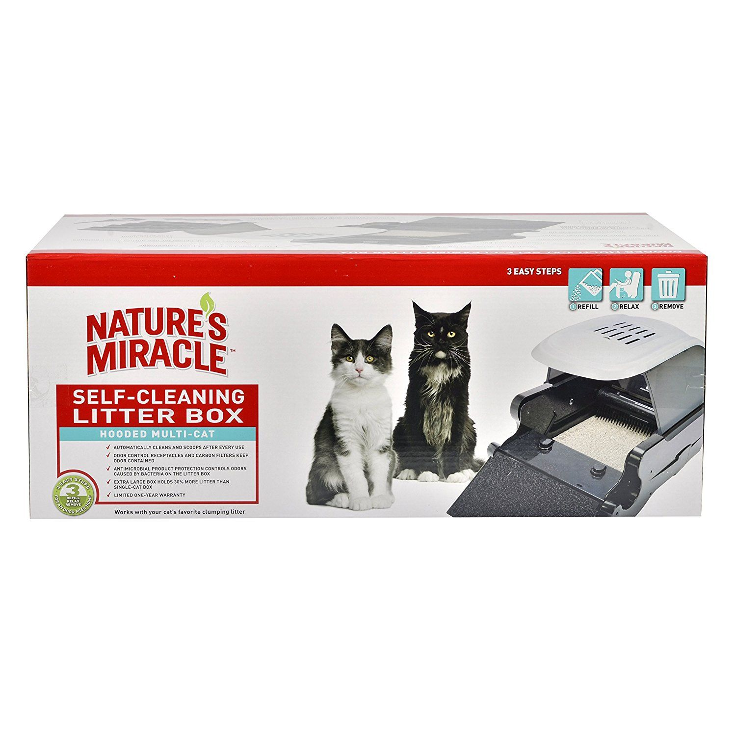 Nature's Miracle Hooded Multi-Cat Self-Cleaning Litter Box (NMA900