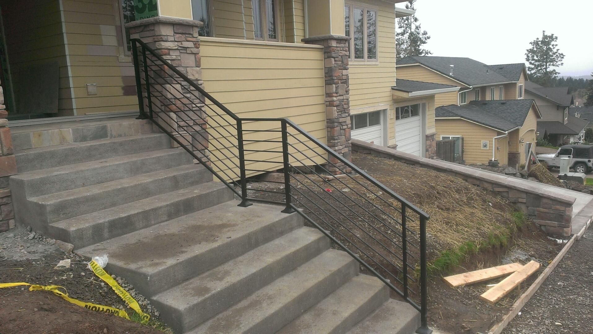 Modern Horizontal Round Rod Rail with square and rectangular accents by ASF Ironworks Inc.