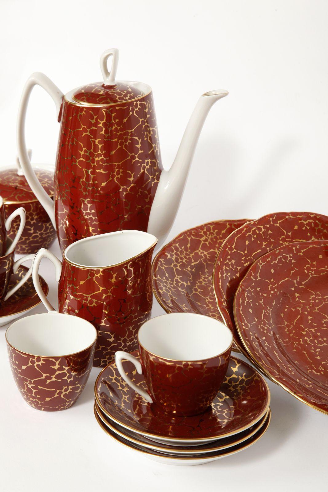 Porcelanowy Serwis Do Kawy I Deseru Aldona Chodzież Lata 60 In