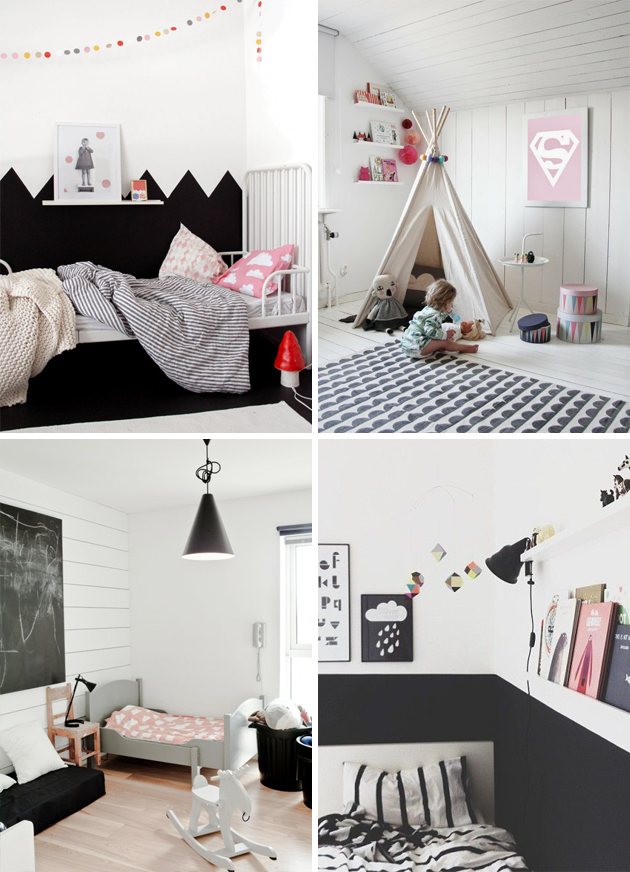 Kids Bedroom Black And White how to decorate a monochrome kid's room - http://www.weddideas
