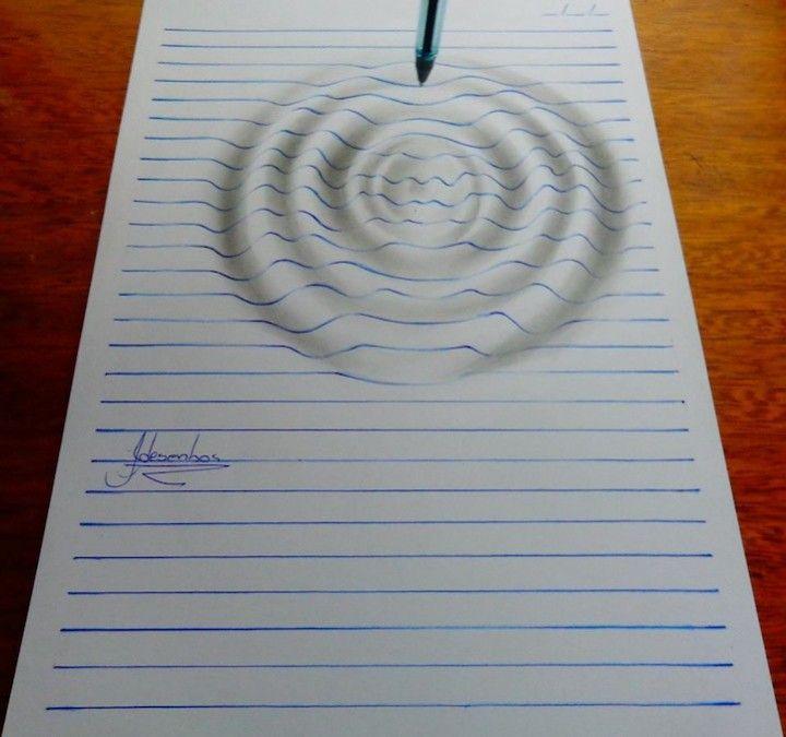 Dessins étonnants en 3D avec des lignes bleues d\'une feuille | Learn ...