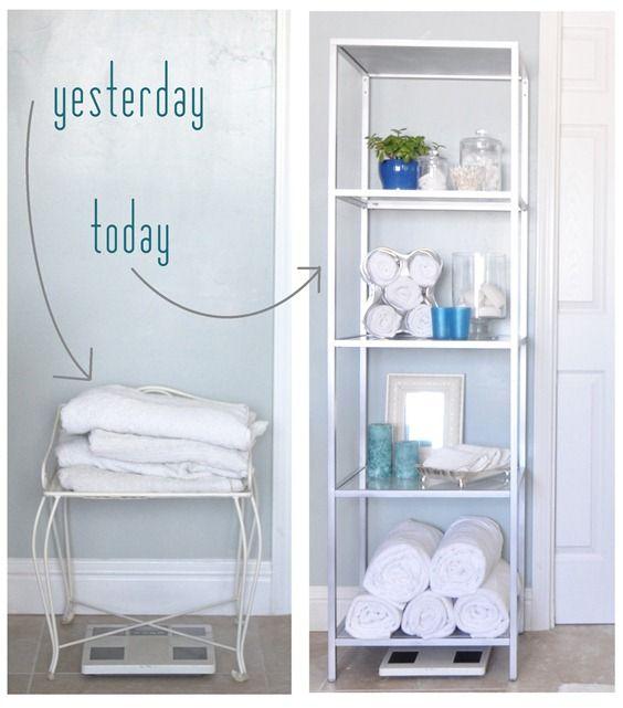 Bathroom organization. CentsationalGirl  Ikea black Vittsjo shelving painted silver for