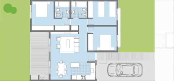 Plano casa sauco procrear 3 dormitorios casas for Casa clasica procrear terminada