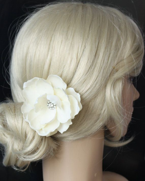 Ivory Flower Hair Clip Wedding: Bridal Hair Flower Handmade Ivory Wedding Hair Flower Clip