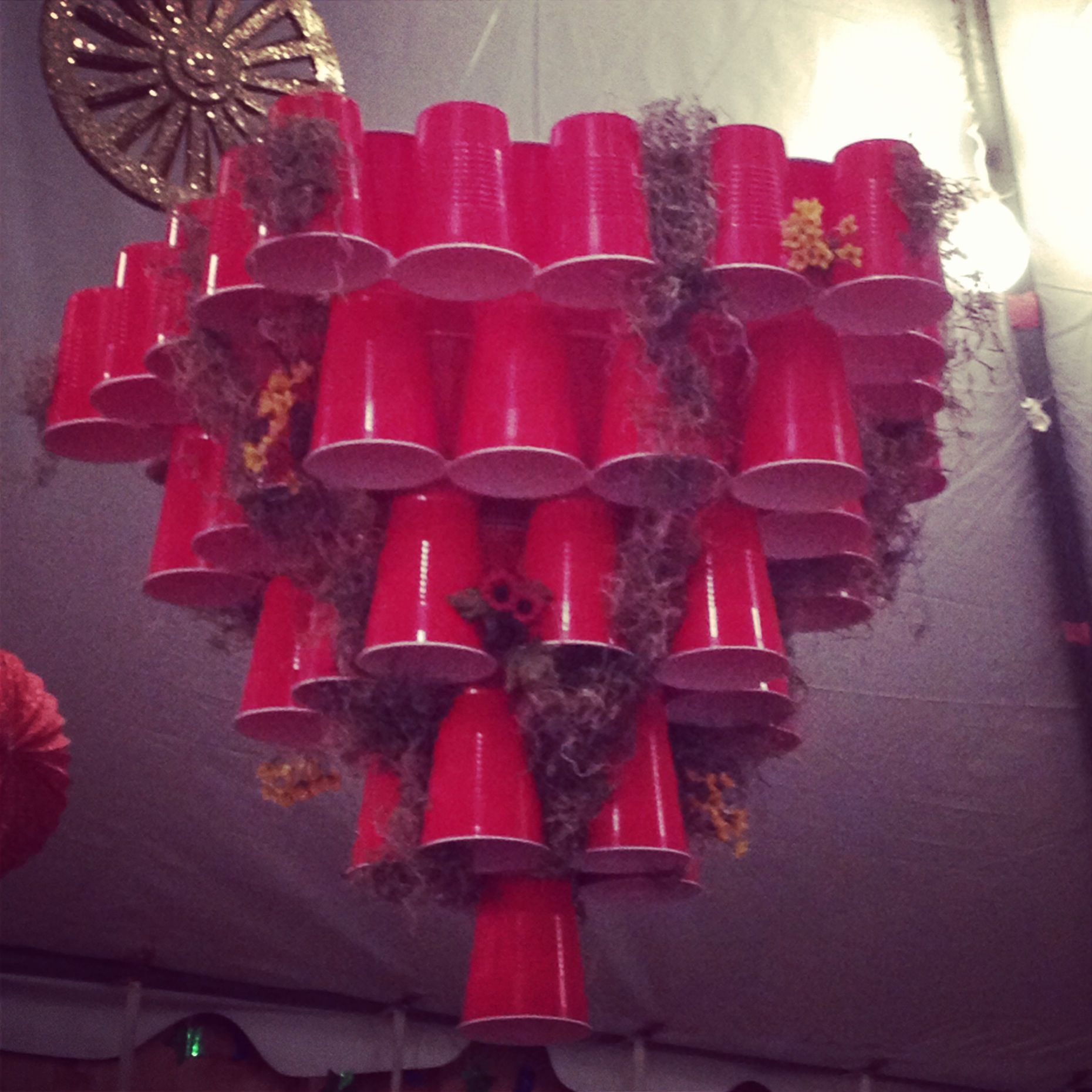White Trash Christmas Decorations: Red Solo Cup Chandelier!