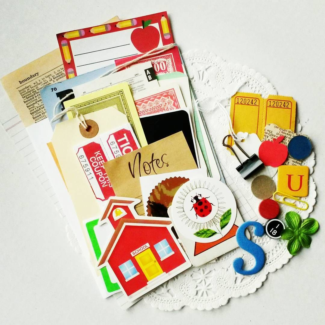 Coming to my shop! This cute little #diykit is perfect for back to school craft projects! Each kit contains 40+ pieces!  #teachers #school #backtoschool #paperkits #papercrafts #paperephemera #scrapbook #dailyplanner #VintageScrapShop