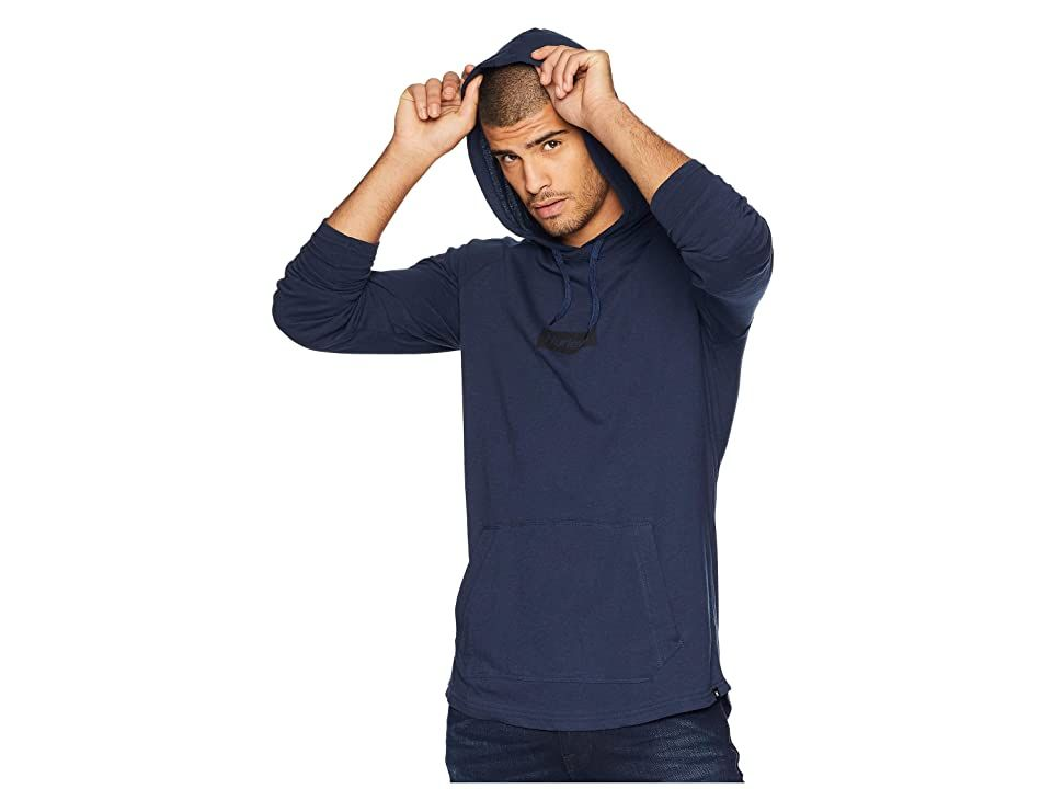 Hurley Premium One Only Box Pullover (Obsidian) Men's Clothing. Step into chill mode with the laid-back comfort of the Hurley Premium One Only Box Pullover shirt! Pullover shirt in a lightweight cotton sports a regular fit that's perfect for any activity. Fixed hood. Screen print adorns front. Long sleeves. Kangaroo pocket. Straight hemline. 100% cotton. Machine wash  tumble dry. Imported. Measurements: Length: 31 in Product m #Hurley #Apparel #Top #GeneralTop #Brown