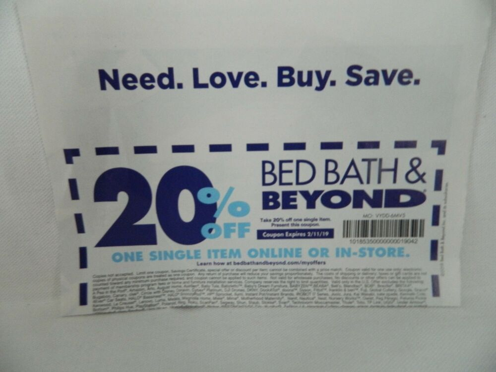 Details About 1 Bed Bath Beyond 20 Off 1 Item Online Coupon