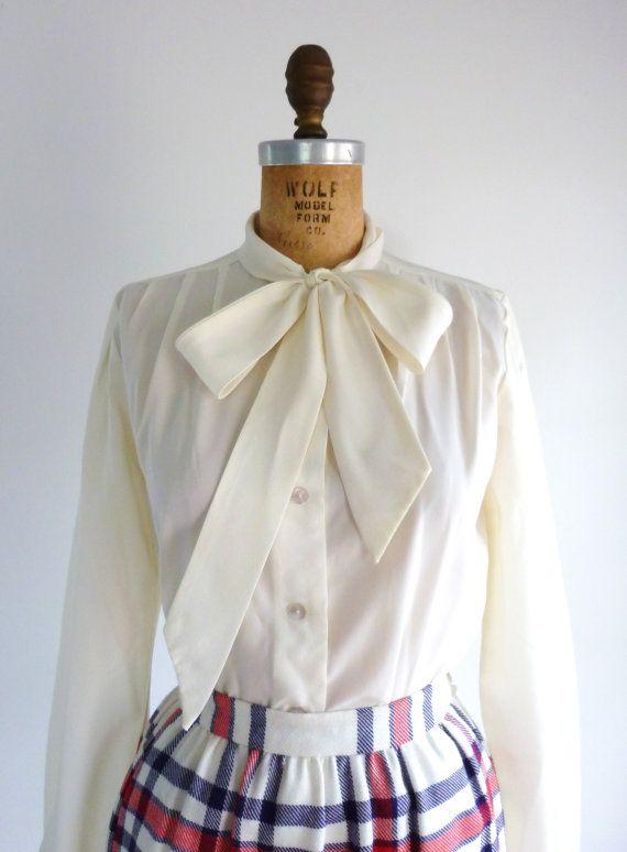 Secretary 70s Pleated Blouse Vintage Mister Leonard Taupe Polka Dot Crepe 1970s Womens Day Wear Top 8