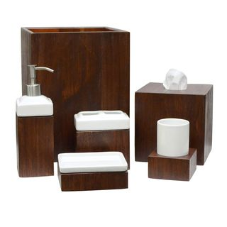Wooden Bathroom Accessories Set. Lamont Home Tahoe Wooden Bath Accessory Collection