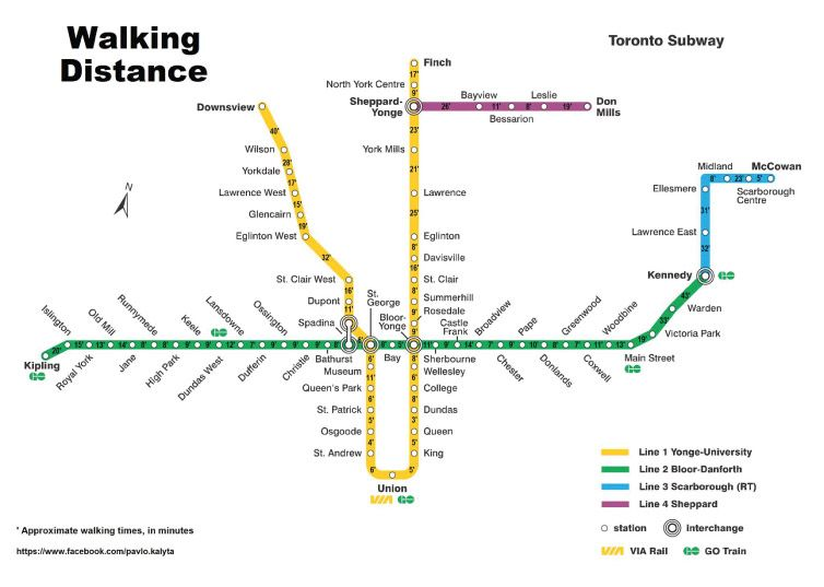 Toronto Subway Line Map.This Map Shows The Walking Time From Each Ttc Subway Station Indie88 Toronto Subway Transit Map Subway