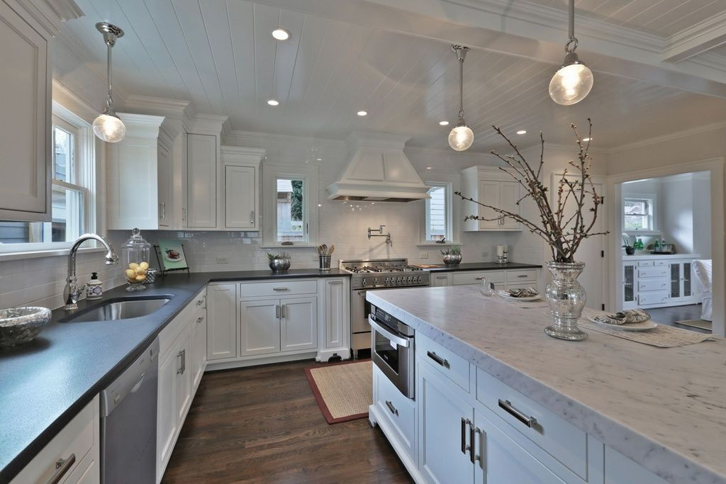 Traditional Kitchen With Custom Hood Caesarstone 5000