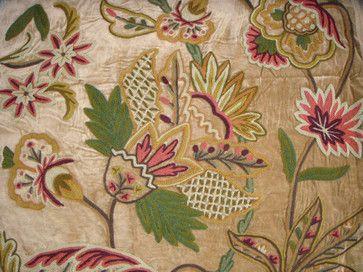 Crewel Fabric Flora Chocolate Brown Cotton Velvet Traditional