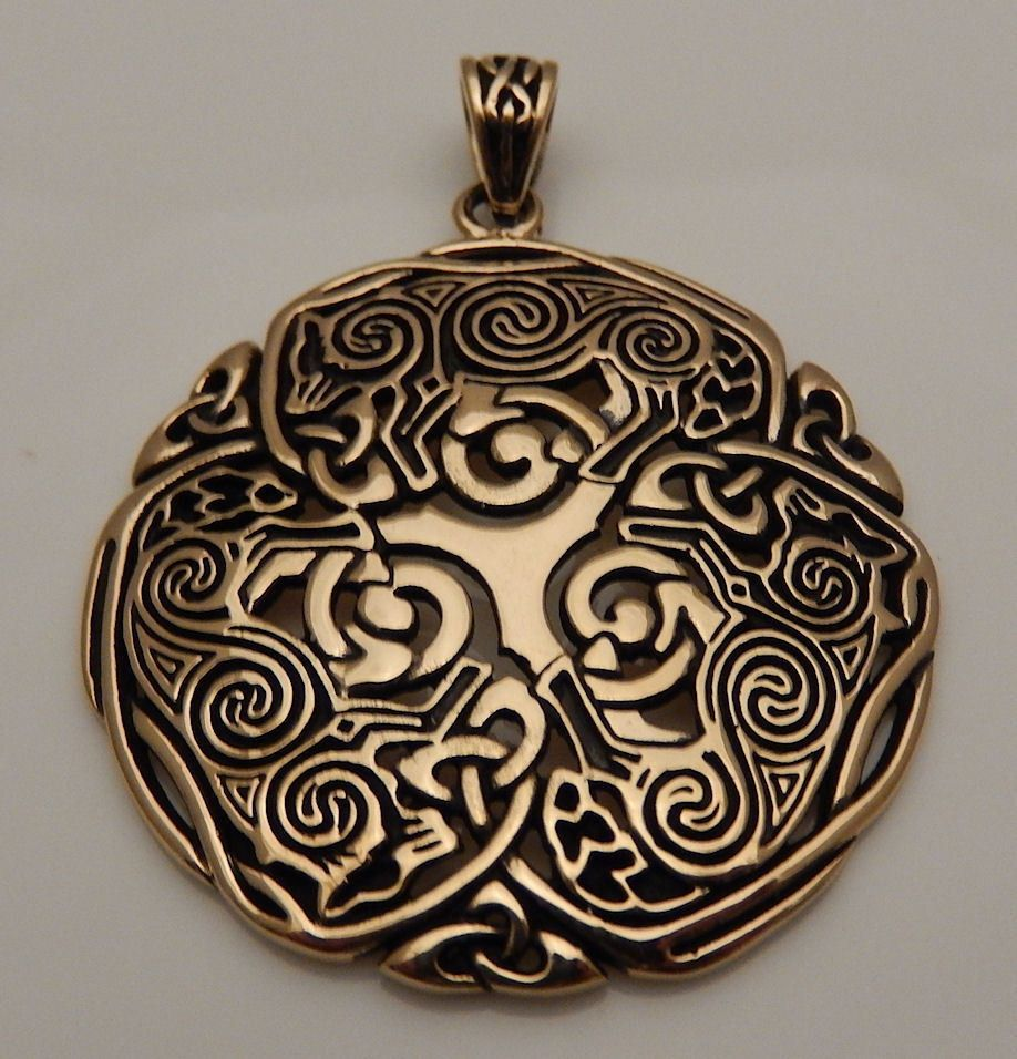 Talisman of the Sacred Three Bronze Pagan Celtic Medieval Gold Pendant Jewelry