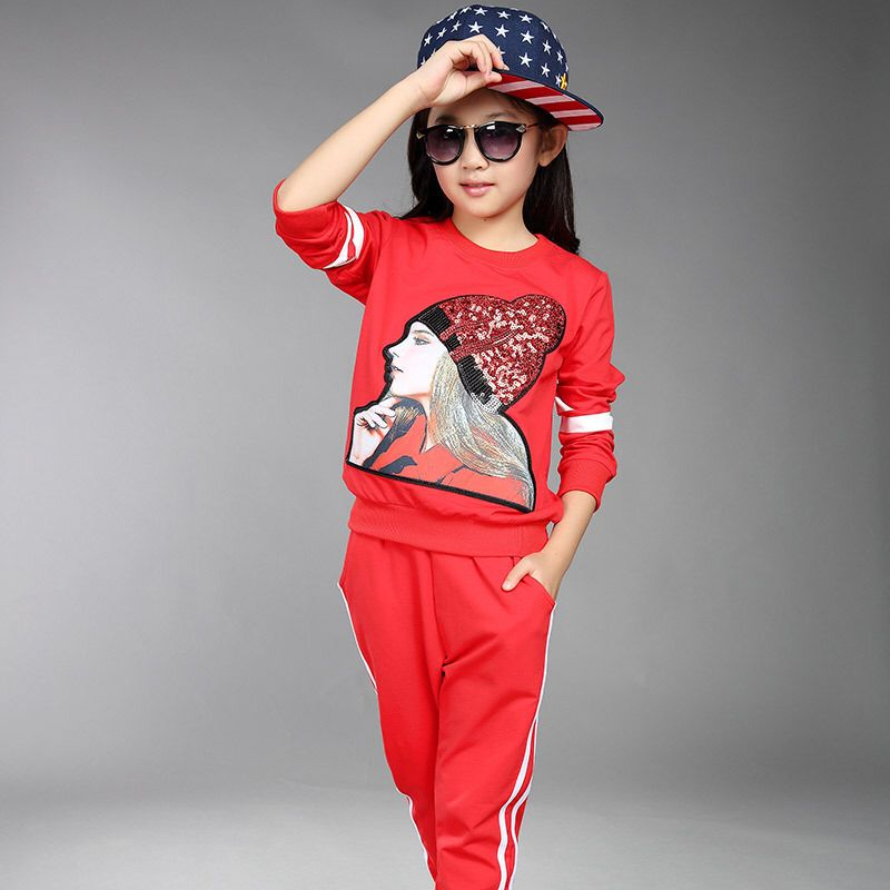 Big girls clothing set pants pink red black autumn kids ...
