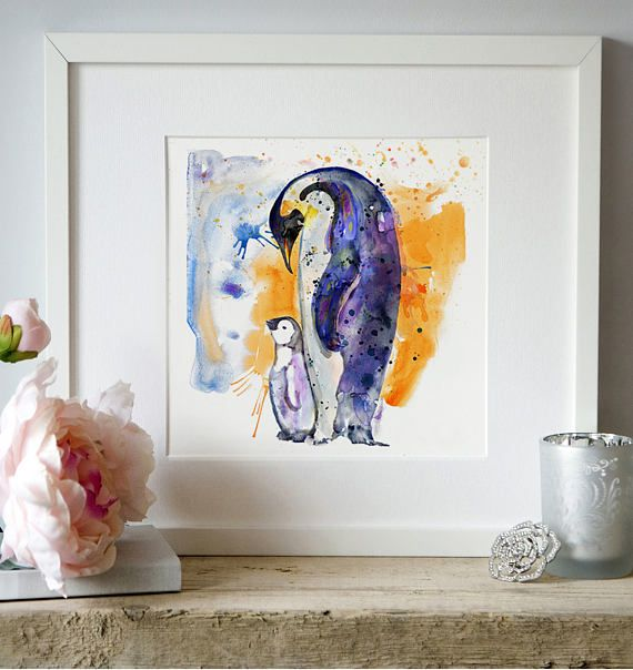 Emperor penguin with baby watercolor painting wildlife wall decor cute animal art printable art nature zoology penguin poster affordable art