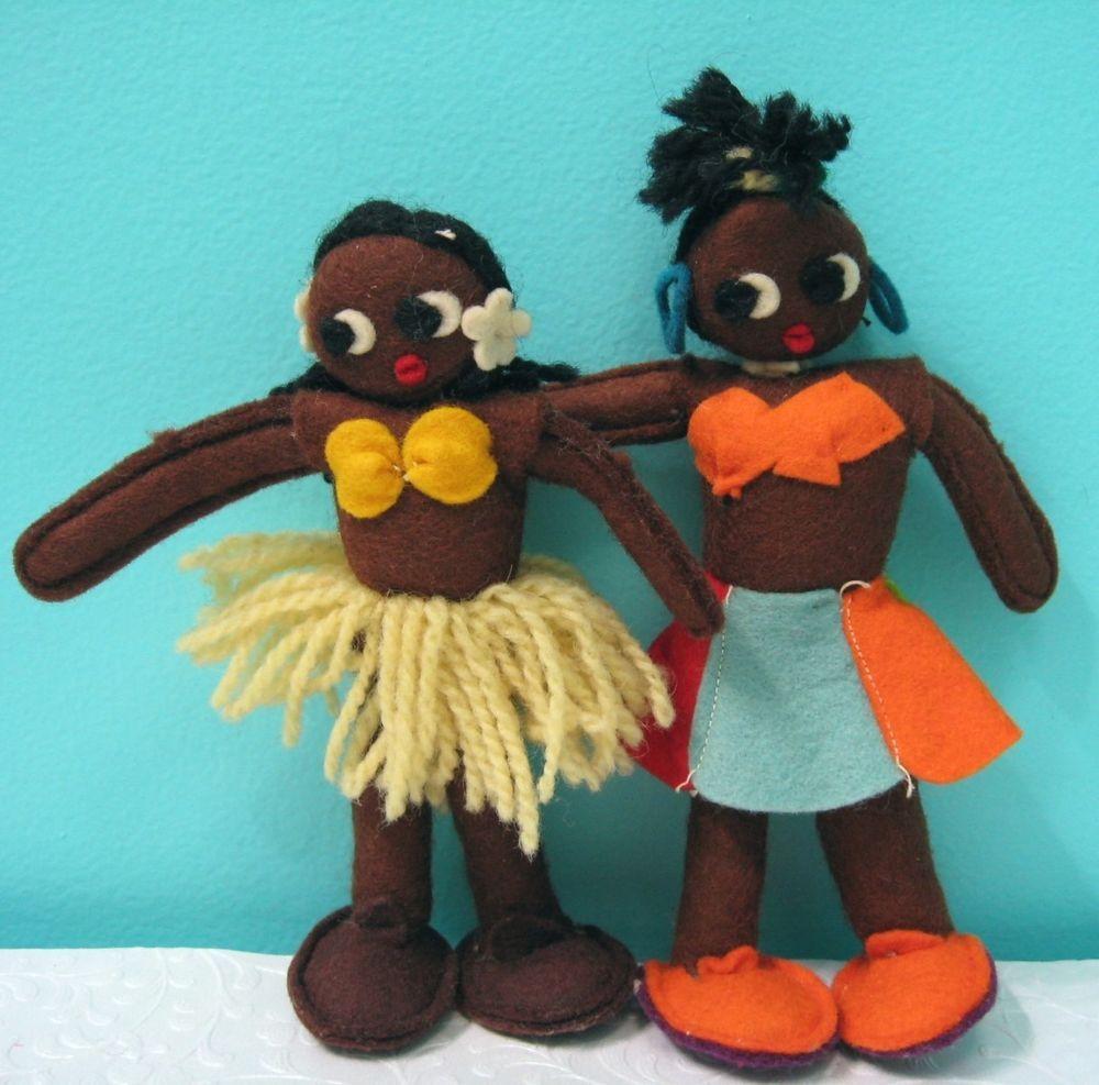 Vtg Pair Felt Dolls Black Americana 1940's Made In Argentina Yarn Hair Folk Art