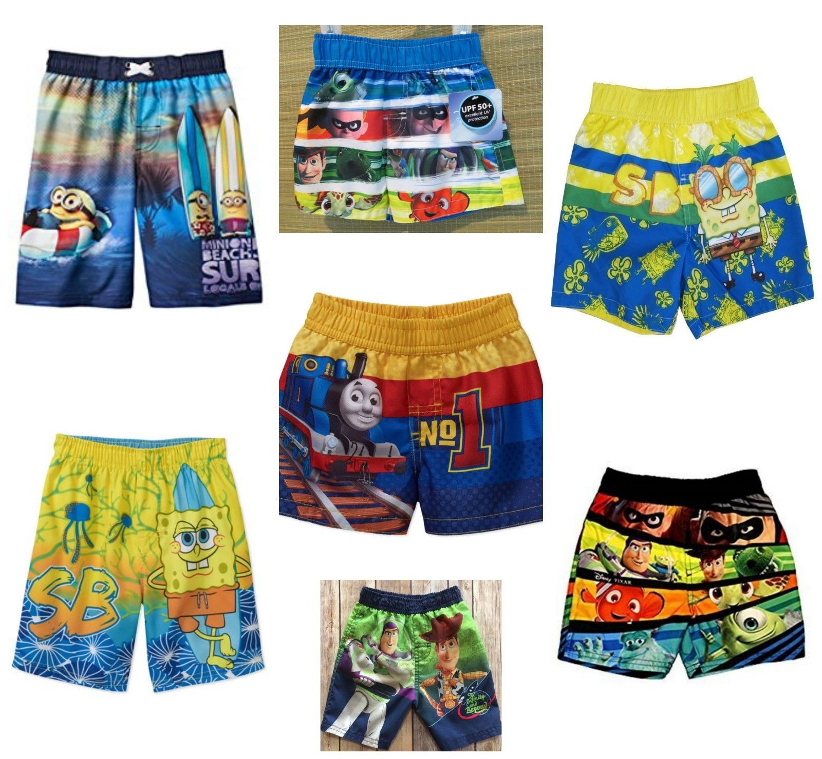 89549bdd89 $10.99 - Boys Toddler Swim Trunks Spongebob Minion Buzz Woody Dory Monster  Inc Thomas Nwt #ebay #Fashion