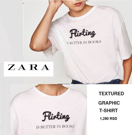 ZARA textured graphic T-SHIRT