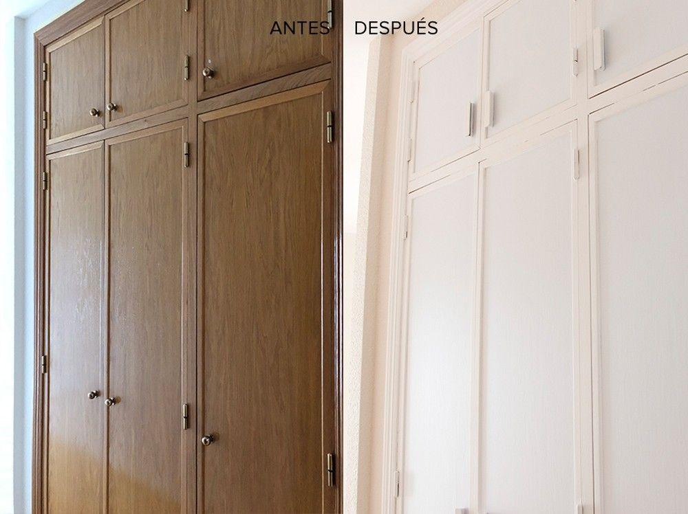 Antes Y Después Cómo Forrar Las Puertas De Un Armario Empotrado Con Vinilo Blanco Mate Vinilo Blanco Armarios Empotrados Puertas Armarios Empotrados