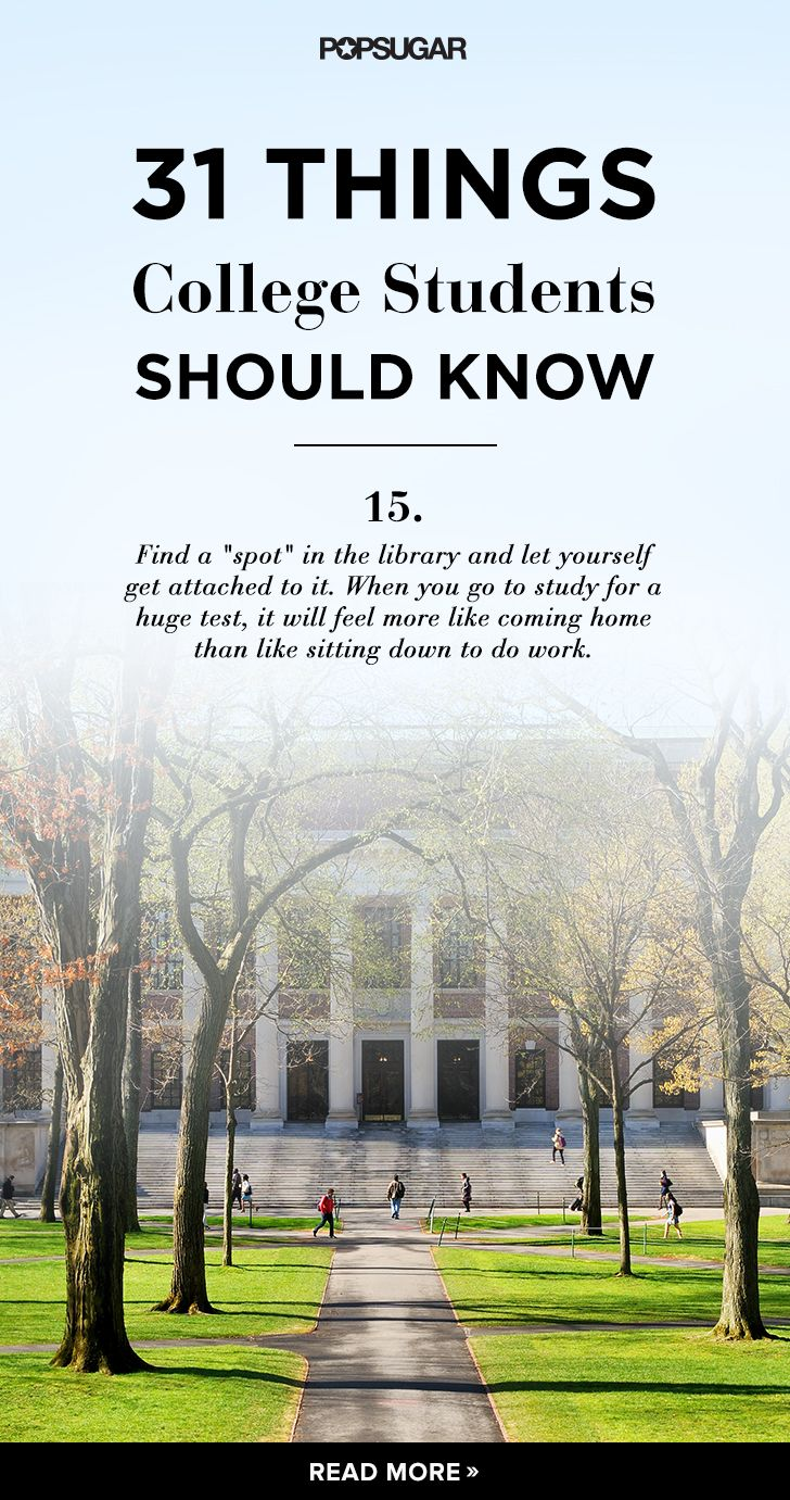 31 Things Every College Student Needs to Know | Studium, Kollegen ...
