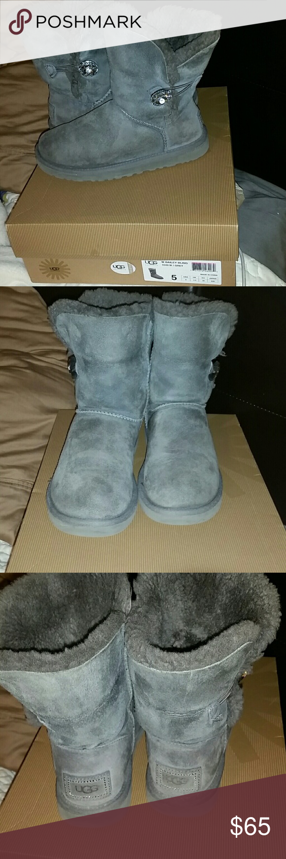 Ugg bailey Bling Ugg bailey Bling grey one button  Excellent  used condition.  Comes packed in orgional box  I bought and they are too small UGG Shoes Winter & Rain Boots