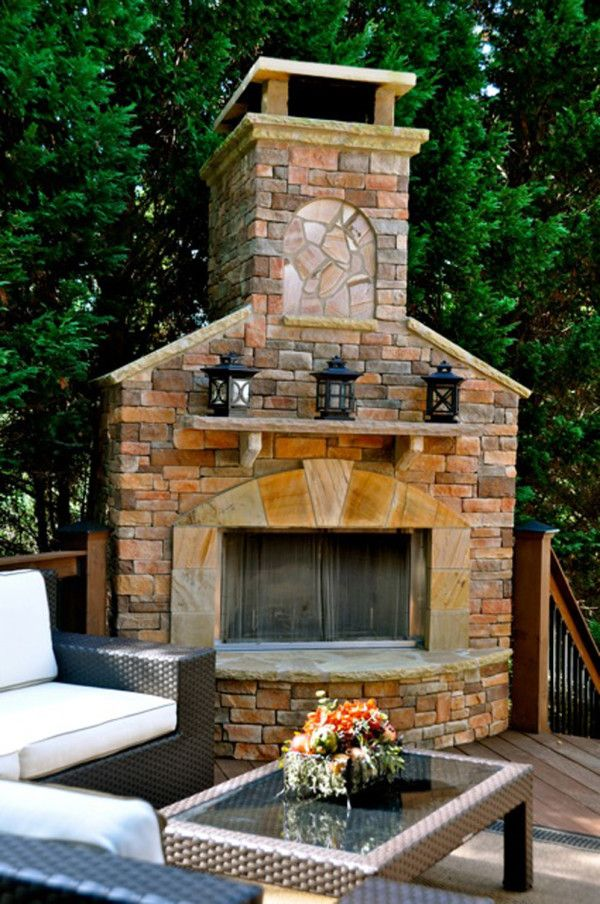Furniture Wondrous Outdoor Stone Fireplace Ideas With Antique Metal Candle Lanterns On Natural St Outdoor Stone Fireplaces Outdoor Fireplace Backyard Fireplace