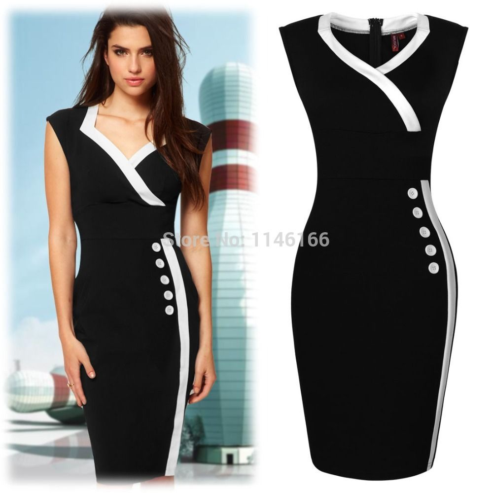 Wholesale New Ladies Sexy V neck Black navy Style Bodycon Business ...