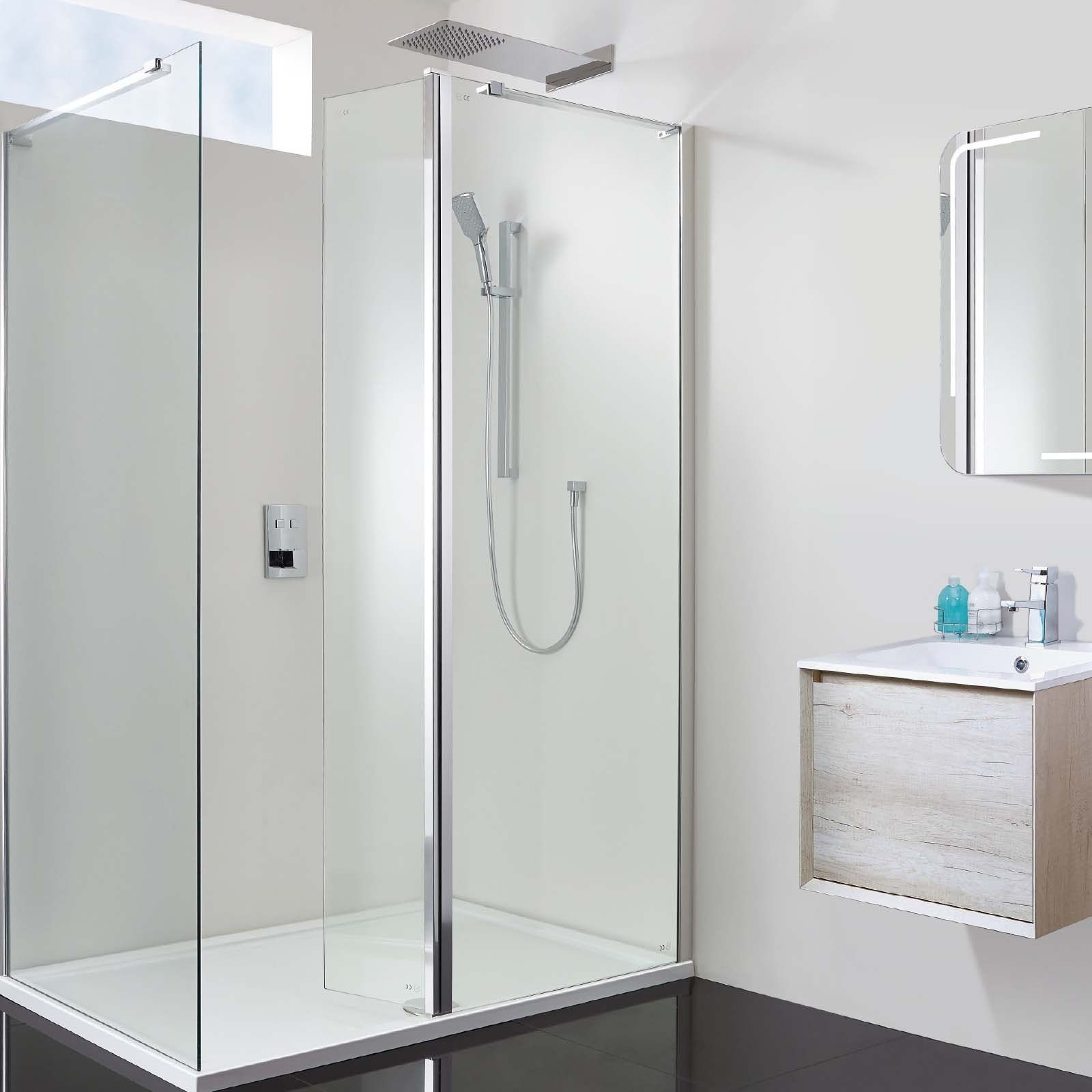Vision 1400 X 800 10mm Hinged Walk In Shower Enclosure Inc Tray And Waste Shower Enclosure Walk In Shower Enclosures Frameless Shower Enclosures