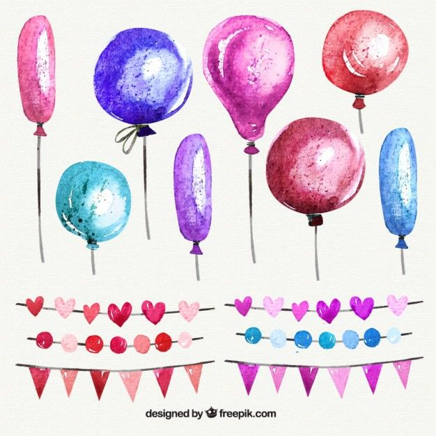 Download Watercolor Balloons And Garlands In Pink Tones For Free