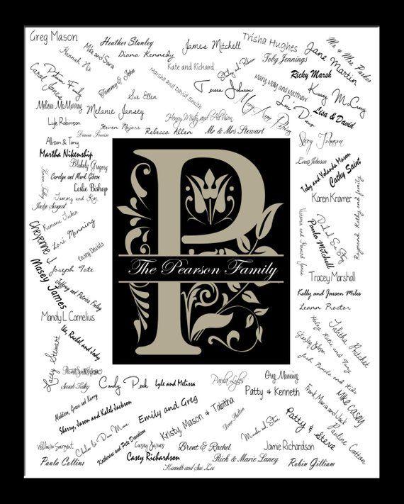 Initial Guest Book Alternative Wedding Signature Monogram Guestbook