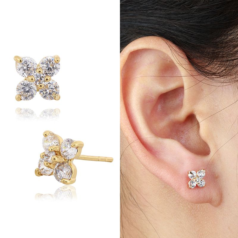 6 Colors Yellow Gold Plated Cute Clover Flower Zircon CZ Piercing ...