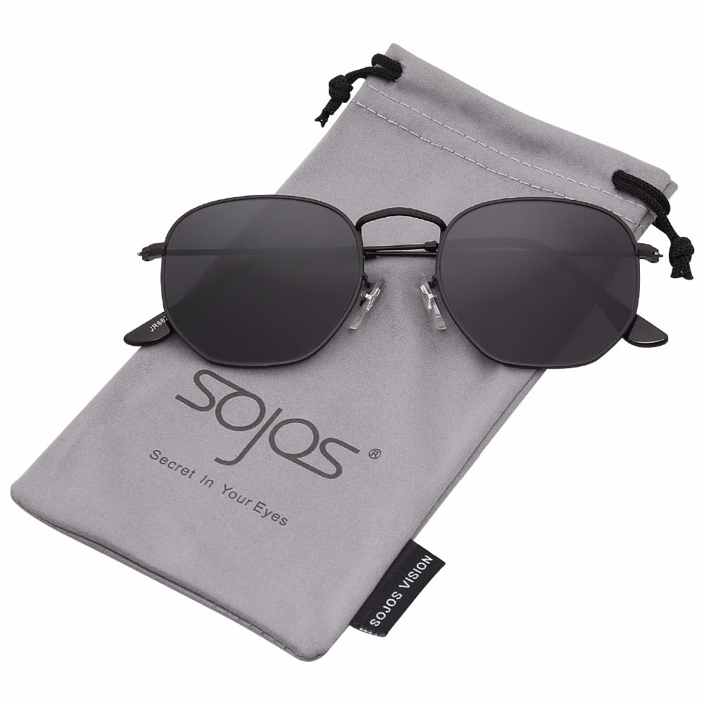 588565a74dd84 SojoS Small Classic Square Polygon Sunglasses for Men and Women Mirrored  Lens Glasses SJ1072