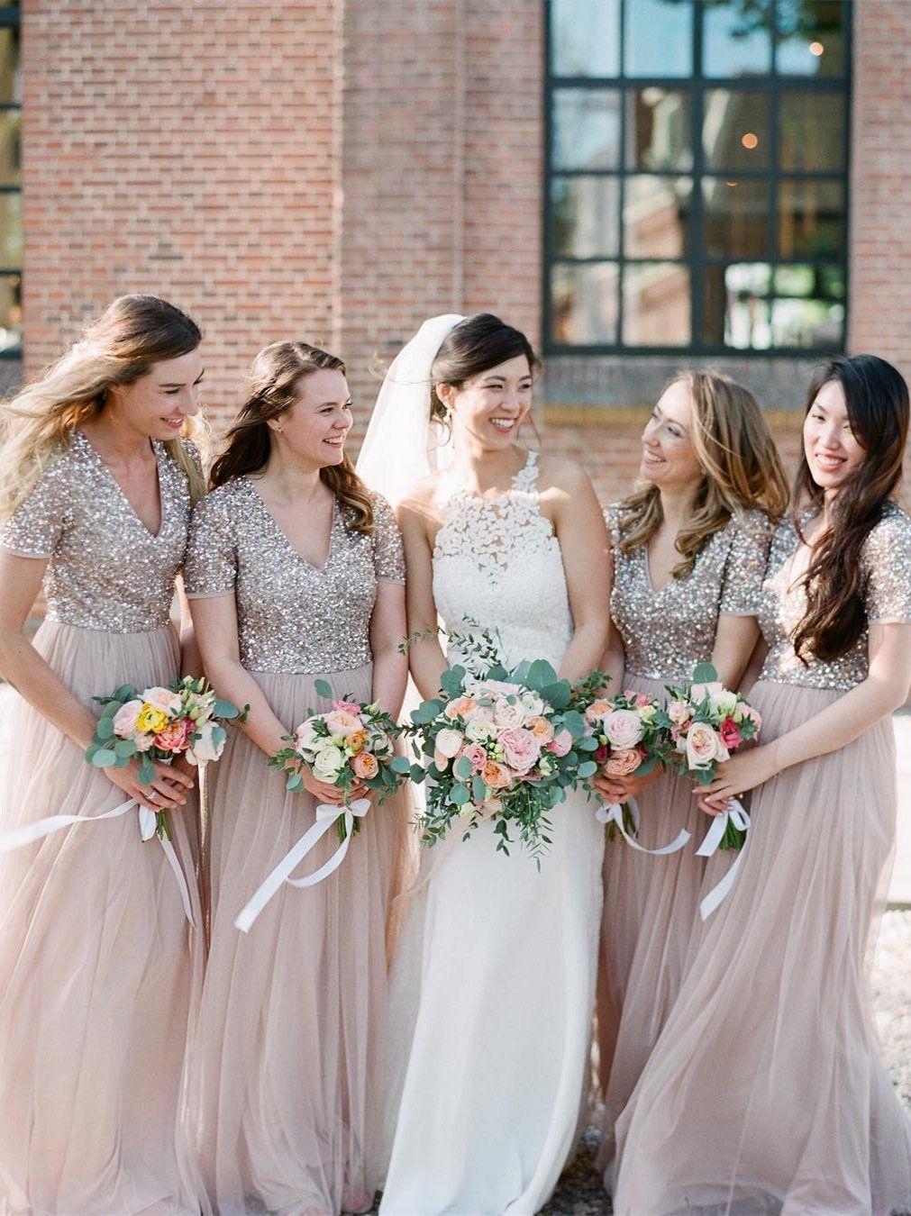 Long cheap plus size bridesmaid dress sparkly short sleeve
