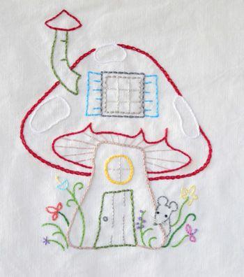 Embroidery Mushroom House