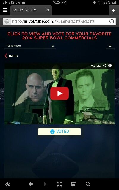 Go vote for best commercial!!! You know which one i voted for :)