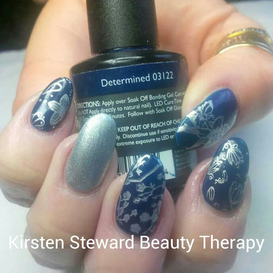 Artistic colour gloss moyou stamping plate nail art navy polish