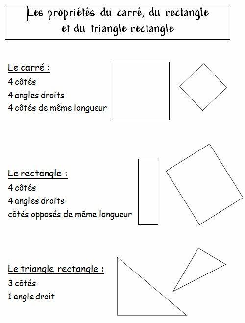 GEOM4 (CE1) - Les propriétés du carré, du rectangle et du triangle rectangle
