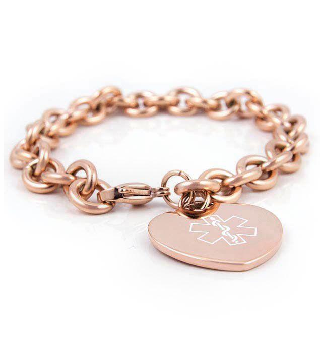 Rose Tone Tiffany Medical Alert Bracelet More
